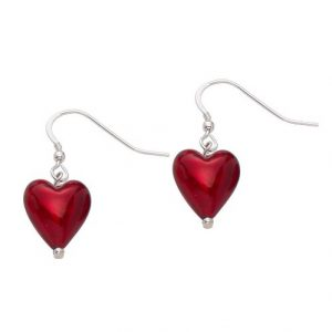 Red Murano Glass Heart Earrings